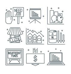 Set icons on a theme of economic crisis vector
