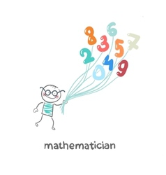 mathematician is flying on figures vector image