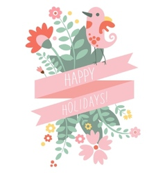 Vintage floral background with cute bird in pastel vector