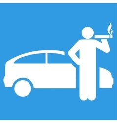 Smoking taxi driver icon from business bicolor set vector