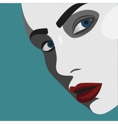 Pop art young woman with red lips vector