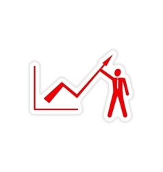 Stylish sticker on paper economic graph and people vector