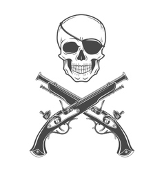 Jolly roger with eyepatch and pistols logo vector