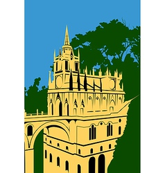 Golden castle in the woods vector