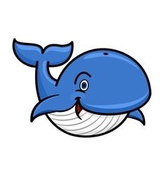 Blue baleen whale cartoon character vector image