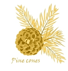 Fir tree branches with pine cone in golden color vector