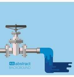 Background water supply with pipe valve on the vector