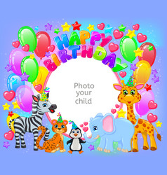 Birthday party cute animal frame your baby photo vector