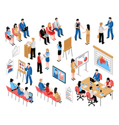 Business education and coaching isometric icons vector