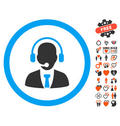 Call center manager icon with valentine bonus vector