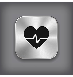 Cardiology icon - metal app button vector image vector image