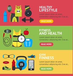 Cartoon fitness sport banner horizontal set vector