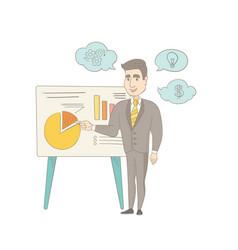 Caucasian businessman giving business presentation vector