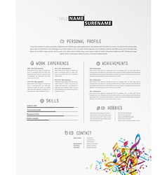 Creative simple cv template with colorful music vector