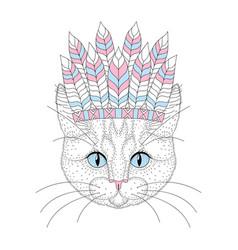 Cute cat portrait with war bonnet on head vector