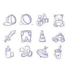 Doodle kids toys hand drawing set vector