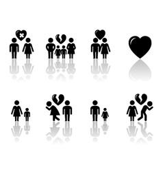 family concept icons with reflection vector image vector image