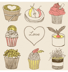 Fancy cupcakes vector image
