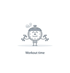 Fitness in gym workout time vector