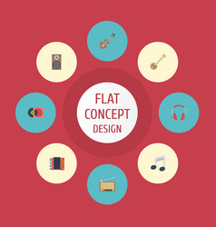 Flat icons banjo harmonica audio box and other vector