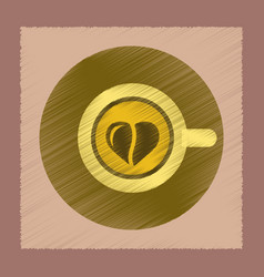 Flat shading style icon coffee cup heart vector