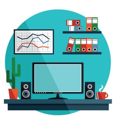 Flat with office things vector image vector image