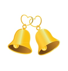 Golden wedding bell with love heart vector