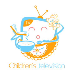 Greeting card children television vector