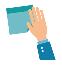 hand human with paper leaf notebook icon vector image