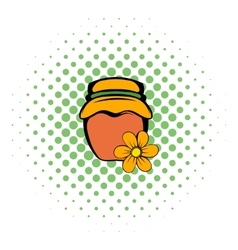 Honey bank icon comics style vector