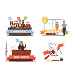 Law justice 4 retro cartoon icons vector