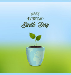 make every day earth day - background with quote vector image