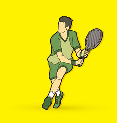 Man tennis player action vector