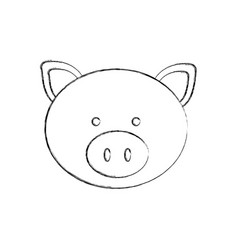 Monochrome blurred contour with male pig head vector