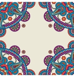 Paisley mandalas hand drawn colored frame vector image