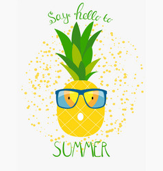 Pineapple in glasses summer concept background vector