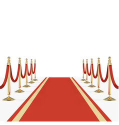 red carpet with red ropes on golden stanchions vector image