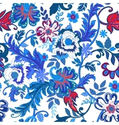 Seamless floral background colorful red and blue vector