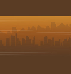 Silhouette of city with fog bad environment vector