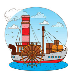 Steamboat vintage water transport design gaming vector