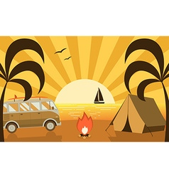 Summer beach campground scene with camper van and vector