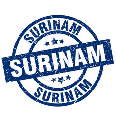 Surinam blue round grunge stamp vector