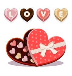 sweets for Valentine s Day in heart shaped vector image