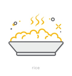 Thin line icons Rice vector image