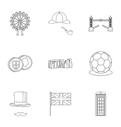 United kingdom icons set outline style vector