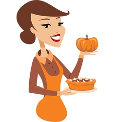 Woman holding freshly baked pumpkin pie vector image