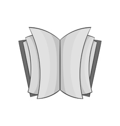 Open thick book icon black monochrome style vector