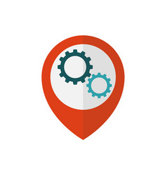 Map pointer with gears inside vector
