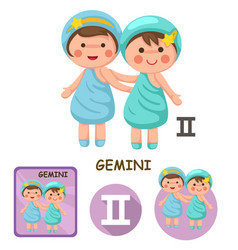 Gemini collection zodiac signs vector