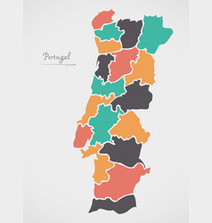 Portugal map with states and modern round shapes vector